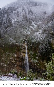 Gelin Tulu waterfall falling from the Kackar mountain in the village Ayder in the city of Rize