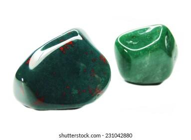 geliotrope greeb jasper and avanturine semigem crystals geological mineral isolated