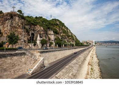 Gellert Hill at Danube river waterfront in Budapest city, Hungary