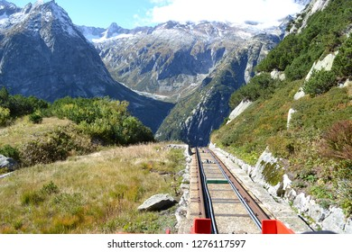 The Gelmer funicular is the steepest of its kind in Europe. Switzerland, autumn hike