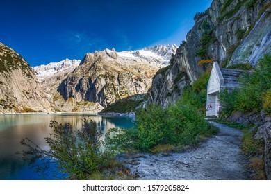 Gelmer Lake near by the Grimselpass in Swiss Alps, Gelmersee, Switzerland, Bernese Oberland, Switzerland.