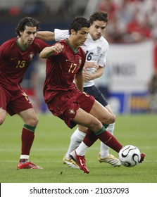 Gelsenkirchen, Germany July 1, 2006  Portugal's Cristiano Ronaldo in action against England during a World Cup round of 16 match. Editorial use only.  No pushing to mobile device usage.