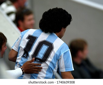 Gelsenkirchen, GERMANY - June 16, 2006:  Diego Maradona of Argentina supports his team  during the 2006 FIFA World Cup Germany  Argentina v Serbia & Montenegro at Veltins Arena.