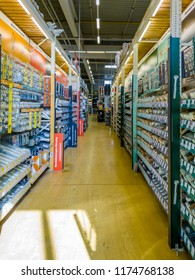 GELSENKIRCHEN / GERMANY - SEPTEMBER 07 2018 : Inside view of a german DIY warehosue