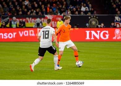 GELSENKIRCHEN - NOV 19, 2018: Frenkie De Jong 7 in action. Germany - Netherlands. UEFA Nations League. Schalke 04 stadium.