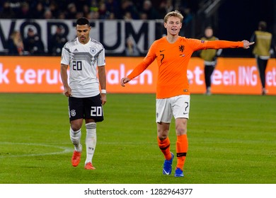 GELSENKIRCHEN - NOV 19, 2018: Frenkie De Jong 7. Germany - Netherlands. UEFA Nations League. Schalke 04 stadium.