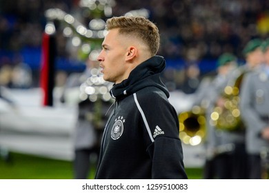 GELSENKIRCHEN - NOV 19, 2018: Joshua Kimmich 18 close up portrait. Germany - Netherlands. UEFA Nations League. Schalke 04 stadium.