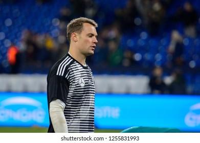 GELSENKIRCHEN - NOV 19, 2018: Manuel Neuer 1 warms up. Germany - Netherlands. UEFA Nations League. Schalke 04 stadium.