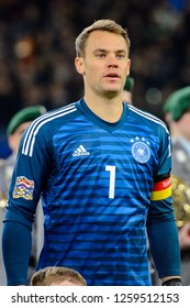 GELSENKIRCHEN - NOV 19, 2018: Manuel Neuer 1 close up portrait. Germany - Netherlands. UEFA Nations League. Schalke 04 stadium.