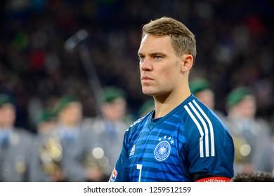 GELSENKIRCHEN - NOV 19, 2018: Manuel Neuer 1 close up portrait. Germany - Netherlands. UEFA Nations League. Schalke 04 stadium.