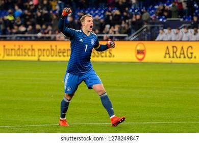 GELSENKIRCHEN - NOV 19, 2018: Manuel Neuer 1 celebrates the goal. Germany - Netherlands. UEFA Nations League. Schalke 04 stadium.