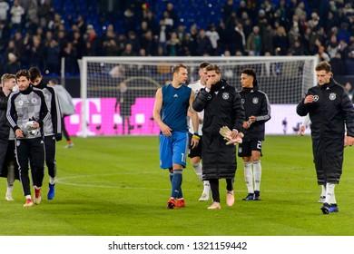 GELSENKIRCHEN - NOV 19, 2018: Manuel Neuer 1 after the game. Germany - Netherlands. UEFA Nations League. Schalke 04 stadium.