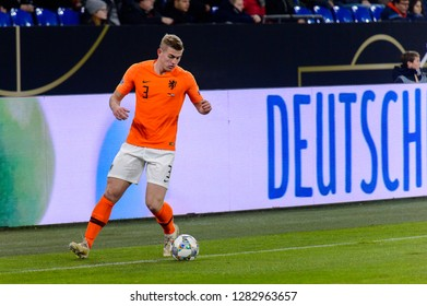 GELSENKIRCHEN - NOV 19, 2018: Matthijs de Ligt 3 with a ball. Germany - Netherlands. UEFA Nations League. Schalke 04 stadium.