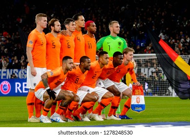 GELSENKIRCHEN - NOV 19, 2018: Netherlands national team photo. Germany - Netherlands. UEFA Nations League. Schalke 04 stadium.