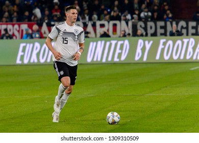 GELSENKIRCHEN - NOV 19, 2018: Niklas Sule 15. Germany - Netherlands. UEFA Nations League. Schalke 04 stadium.
