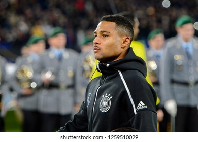 GELSENKIRCHEN - NOV 19, 2018: Serge Gnabry 20 close up portrait. Germany - Netherlands. UEFA Nations League. Schalke 04 stadium.