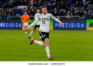 GELSENKIRCHEN - NOV 19, 2018: Thomas Muller 13 in attack. Germany - Netherlands. UEFA Nations League. Schalke 04 stadium.