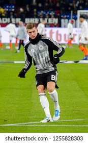 GELSENKIRCHEN - NOV 19, 2018: Toni Kroos 8 warms up. Germany - Netherlands. UEFA Nations League. Schalke 04 stadium.