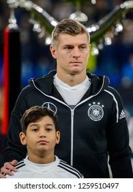 GELSENKIRCHEN - NOV 19, 2018: Toni Kroos 8 listens the anthem. Germany - Netherlands. UEFA Nations League. Schalke 04 stadium.