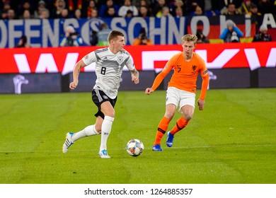 GELSENKIRCHEN - NOV 19, 2018: Toni Kroos 8 in action. Germany - Netherlands. UEFA Nations League. Schalke 04 stadium.