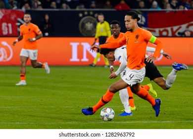 GELSENKIRCHEN - NOV 19, 2018: Virgil van Dijk 4. Germany - Netherlands. UEFA Nations League. Schalke 04 stadium.
