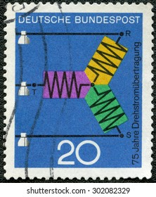 GEMANY - CIRCA 1966: A stamp printed in Germany dedicate 75th anniversary of three-phase power transmission, series Progress in science and technology, circa 1966