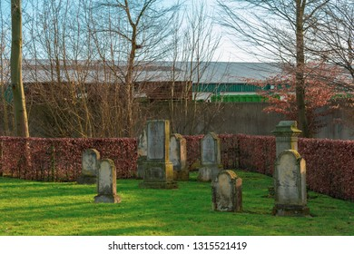 "Gemen, NRW / Germany - February 16, 2019: Jewish cemetery from 1810. The youngest graves are from 1912/1913. On most tombstones is written in Hebrew ""Here is a Jewish man"""
