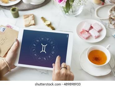 Gemini Horoscope Zodiac Fortune Twin Graphic Concept