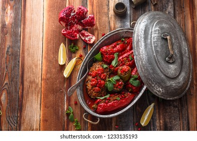 Gemista -or stufed red peppers with rice, greek cuisine