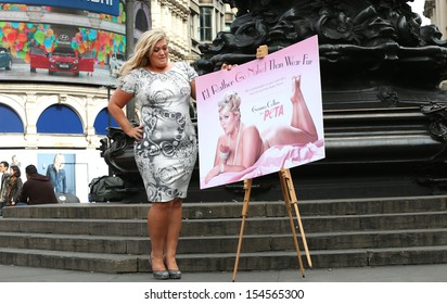 Gemma Collins unveils new Peta campaign in Piccadilly Circus London. 10/09/2013