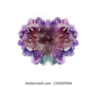 Gemstone isolated on white background, shiny amethyst prism natural jewelry background on different colorful shades.