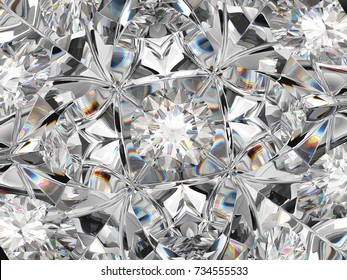 Gemstone macro closeup with kaleidoscope effect. top view of round gemstone 3d render, 3d illustration