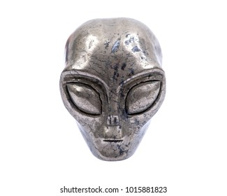 Gemstone Pyrite  from Brazil Carved Crystal Star Being, Female Alien Skull, isolated on white background