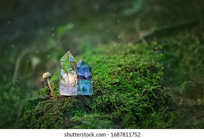 gemstones crystal minerals on nature mysterious forest background. Magic Rock for Crystal Ritual, Witchcraft, spiritual crystal practice