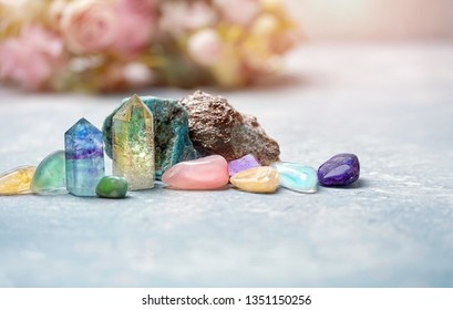 gemstones crystal minerals for relaxation and meditation. Rock crystal, fluorite, citrine. Magic Rock for Crystal Ritual, Witchcraft, Crystal for Relaxing Chakra, Healing stones. copy space