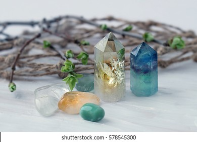 gemstones crystal minerals for relaxation and meditation. Rock crystal. light background, blurred focus