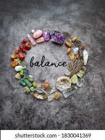 gemstones and magic witch items on dark background. colorful Crystals Stones Set. healing minerals for relaxation, meditation, Esoteric spiritual practice. life balance concept