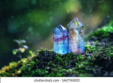 gemstones minerals on mysterious natural forest background. fluorite and quartz crystals close up. Magic healing Rock for Crystal Ritual, Witchcraft, spiritual esoteric practice