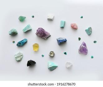 Gemstones, Semi-Precious gem stones.  Natural rocks on white isolated background.  Geology.
