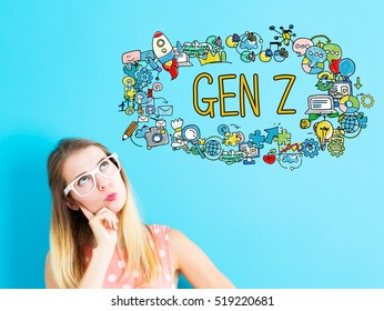 Gen Z concept with young woman on blue background