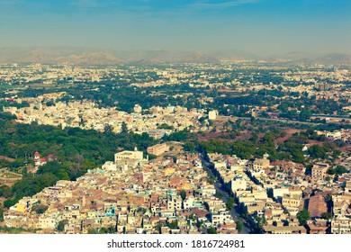 Genaral view of Palitana from top of Shatrunjaya hill. Gujarat, India