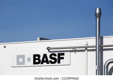Genay, France - March 14, 2018: BASF building and factory. BASF is a German chemical company and the largest producer in the world