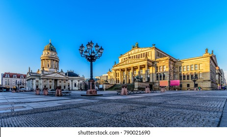 The Gendarmenmarkt in Berlin with the concert house the Berlin Cathedral and the French Cathedral in the morning