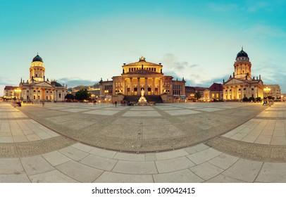 Gendarmenmarkt Berlin (Gendarmen Market) Panorama, famous landmark in Berlin, Germany at sunny day with blue sky