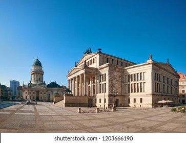 Gendarmenmarkt square in Berlin with German church and Concert Hall on a bright day, panoramic image
