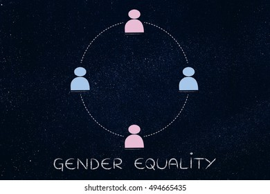 gender equality and inclusive workplace concept: minimalistic illustration of a team with men and women (circle version)