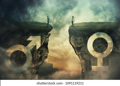 Gender gap idea and sex equality or inequality concept as male and female sign shaped into stone cliff and man with woman looking at each other from different sides as a metaphor of social issue.