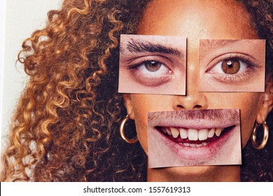 Gender Identity Concept With Composite Image Made From Male And Female Facial Features