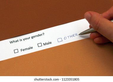 Gender identity conceptual photo. Male or female sex is not enough, other gender identity written by human hand beyond the two options.