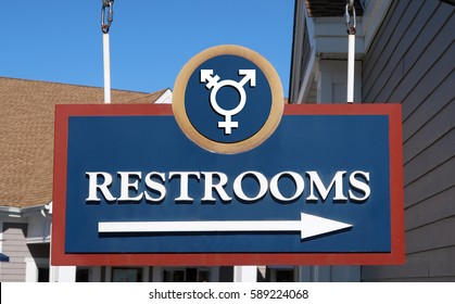 Gender Neutral Bathroom sign that says, RESTROOMS.